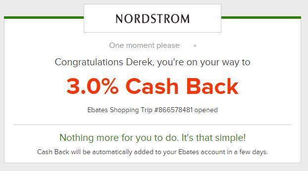Ebates Site logged - Nordstrom