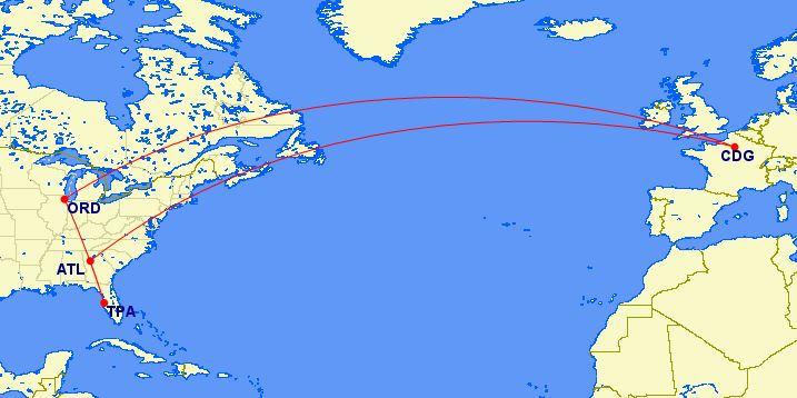Paris Flight Map