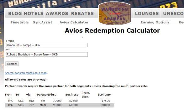 Avios Redemption Calculator