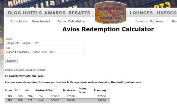 Avios Redemption Calculator
