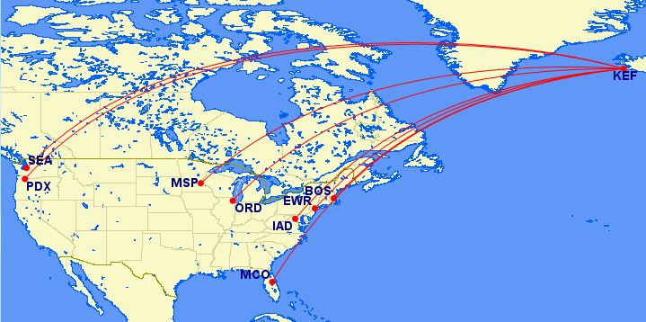 Iceland Air US Route Map - AYP