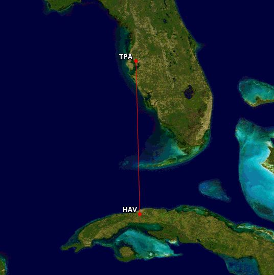 Tampa To Havana Map - AYP Post