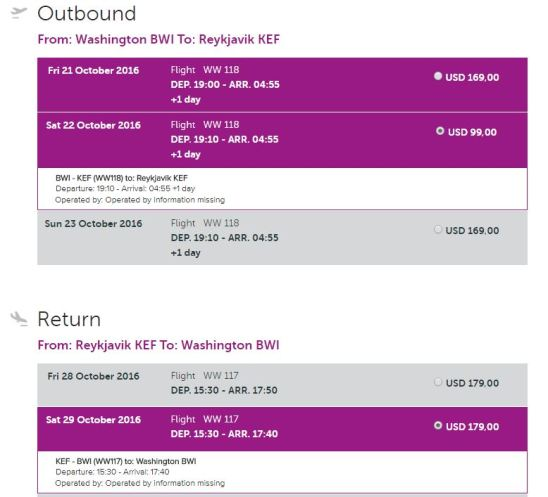WOW Air Flight Options - AYP
