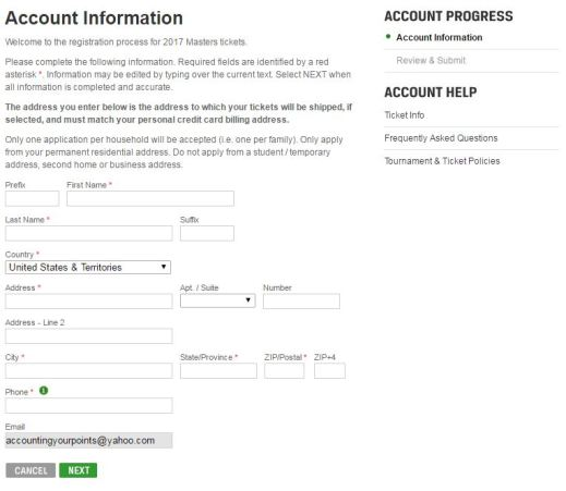 Account Information - AYP Masters