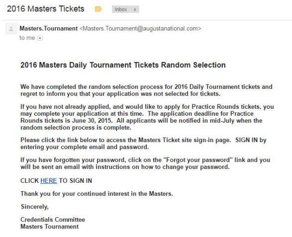 Masters bad news on Tourn tix - AYP