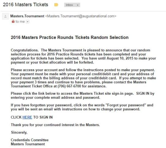 Masters good news on Practice tix - AYP