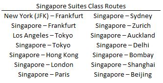 Singapore Suites Class Routes