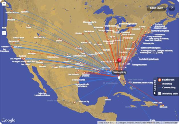 SW Flight map