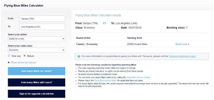 Air France Miles Calculator - AYP