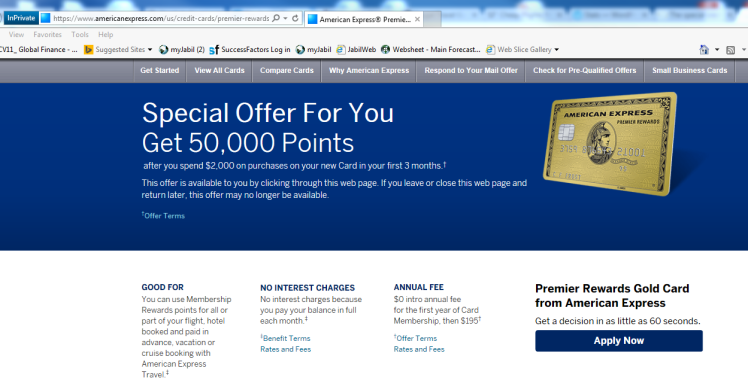 Amex PRG 50k offer