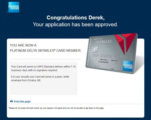 Approved for Platinum Delta Amex - AYP