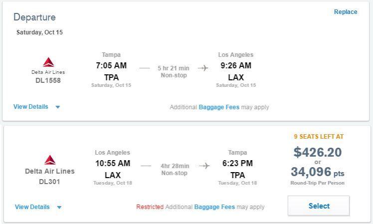 Delta Flight using Chase Portal - AYP