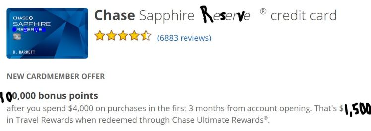 Chase Sepphire Reserve - AYP