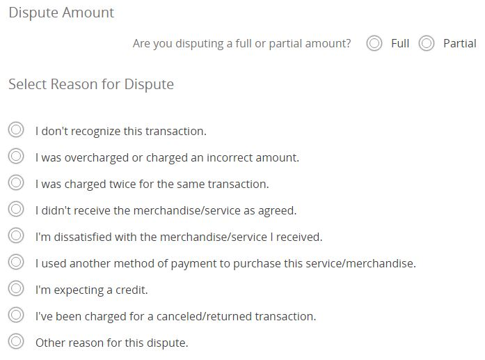 dispute-a-charge-select-amount-and-reason-for-dispute-ayp